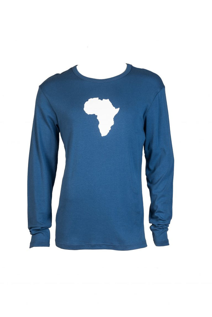 Africa graphic long sleeved cotton t-shirt blue