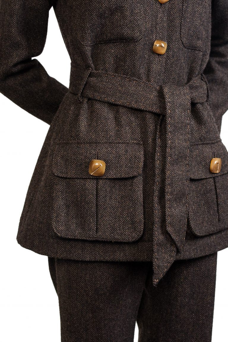 women's brown tweed jacket safari shirt