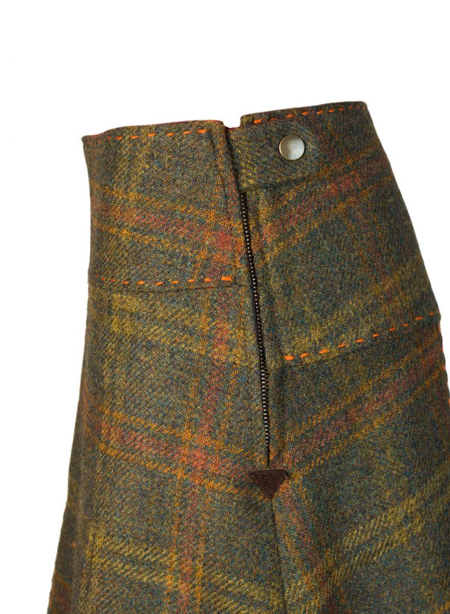 Moss green check tweed skirt front box pleat