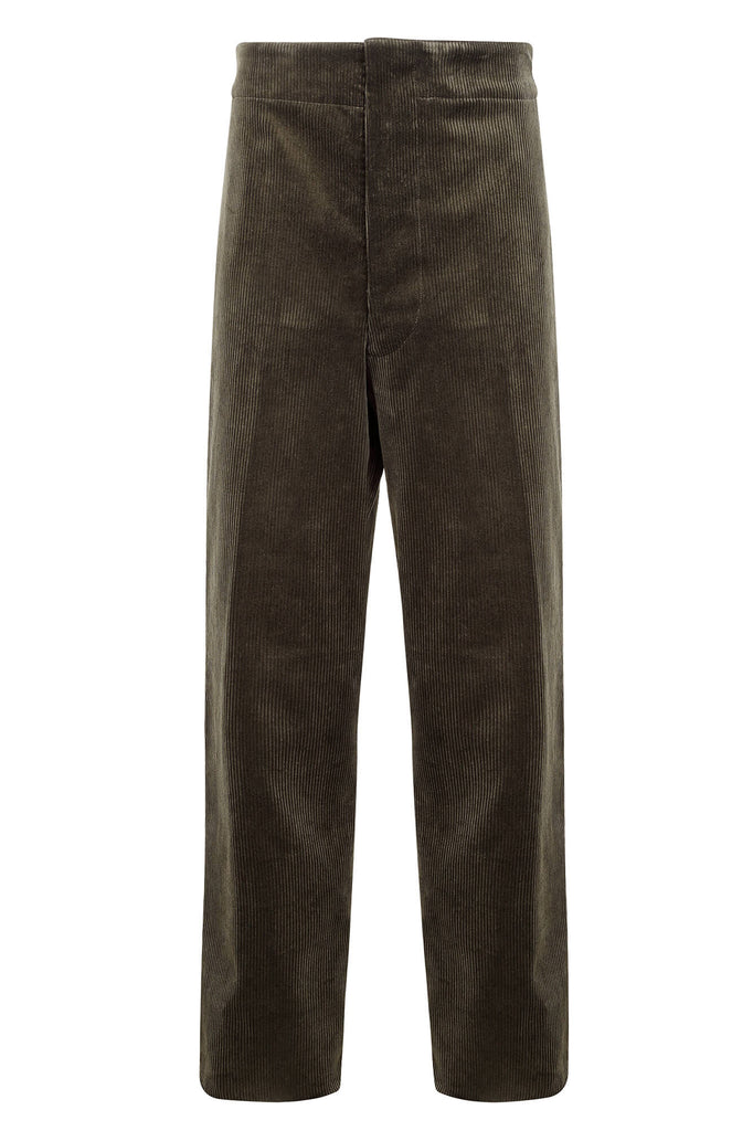 men's corduroy trousers olive green