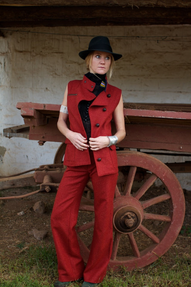 Women's red tweed trousers