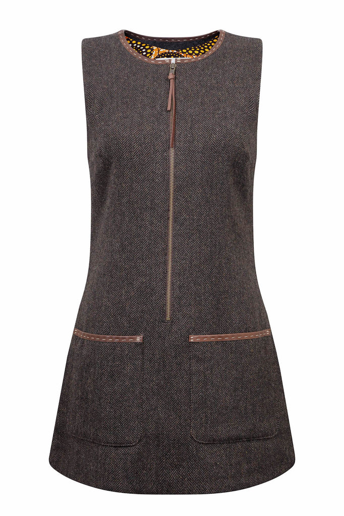 chocolate brown herringbone tweed tunic dress