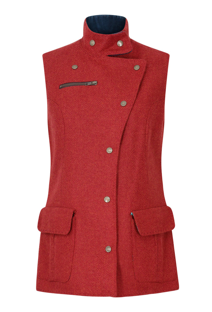 red-tweed-fitted-womens-waistcoat-made-in-britain