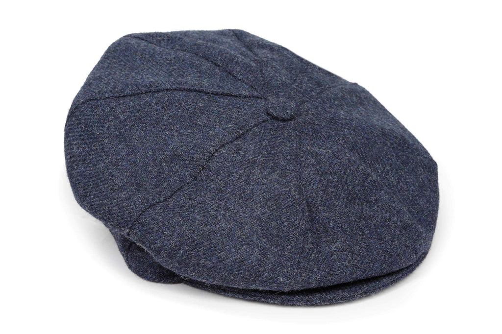 blue tweed baker boy cap