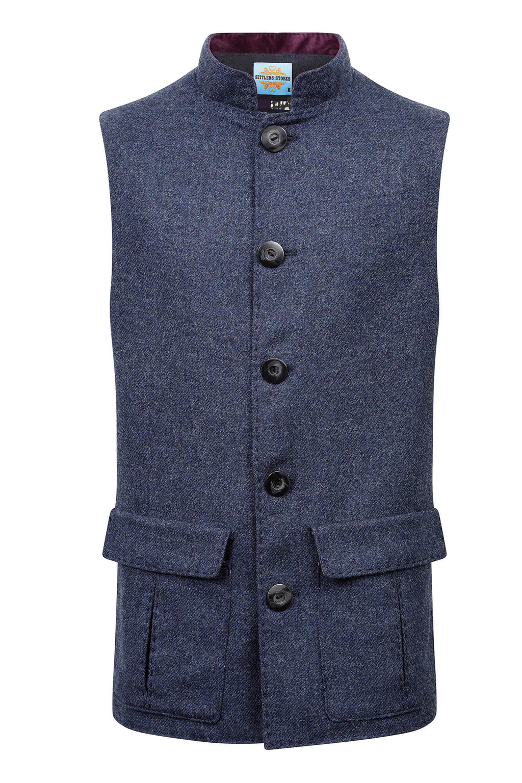 Twain Blue Tweed Gilet