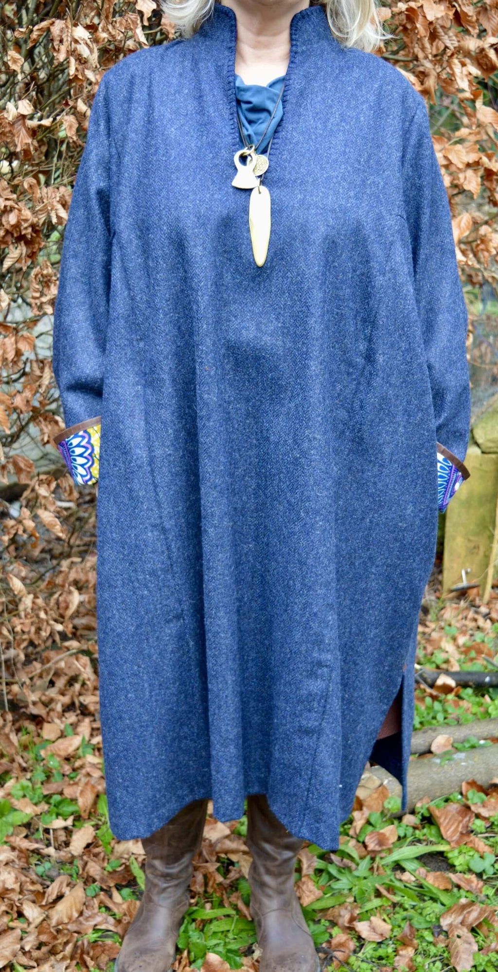 blue tweed unisex robe