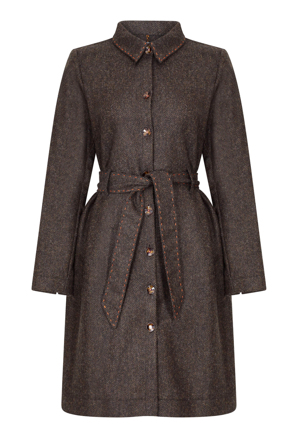 chocolate-brown-herringbone-tweed-coat-dress-made-in-britain