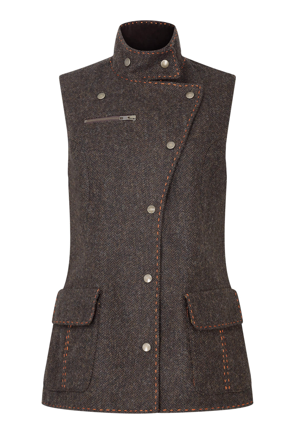 chocolate-brown-herringbone-tweed-fitted-womens-waistcoat-made-in-britain