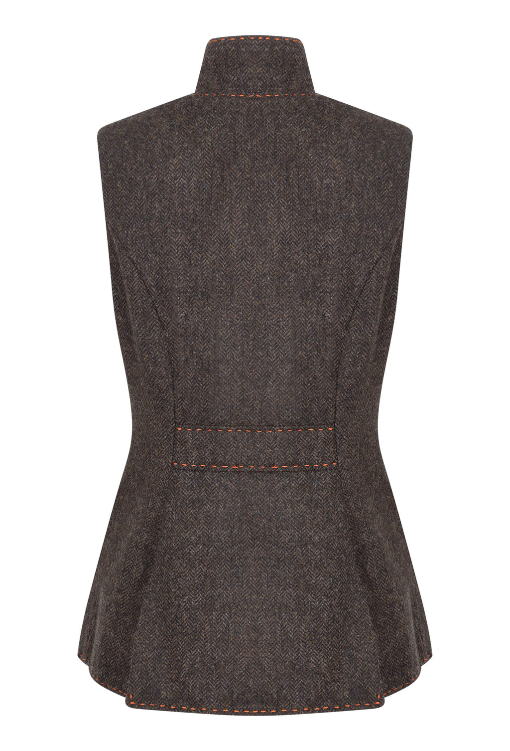 chocolate-brown-herringbone-tweed-fitted-womens-waistcoat