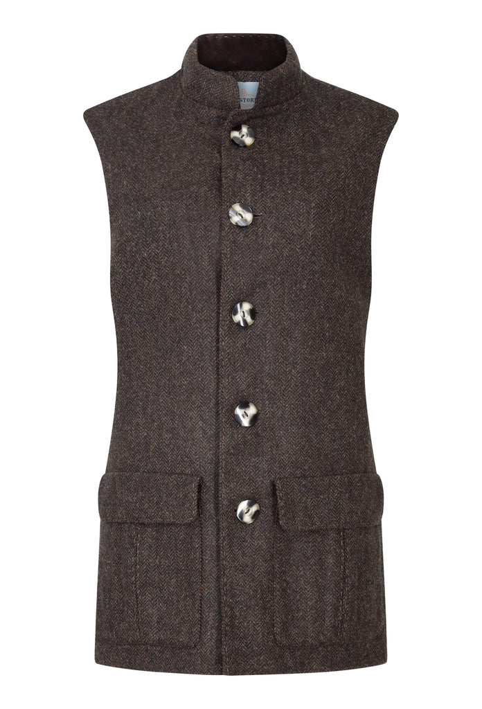 chocolate-brown-herringbone-tweed-gilet-made-in-britain