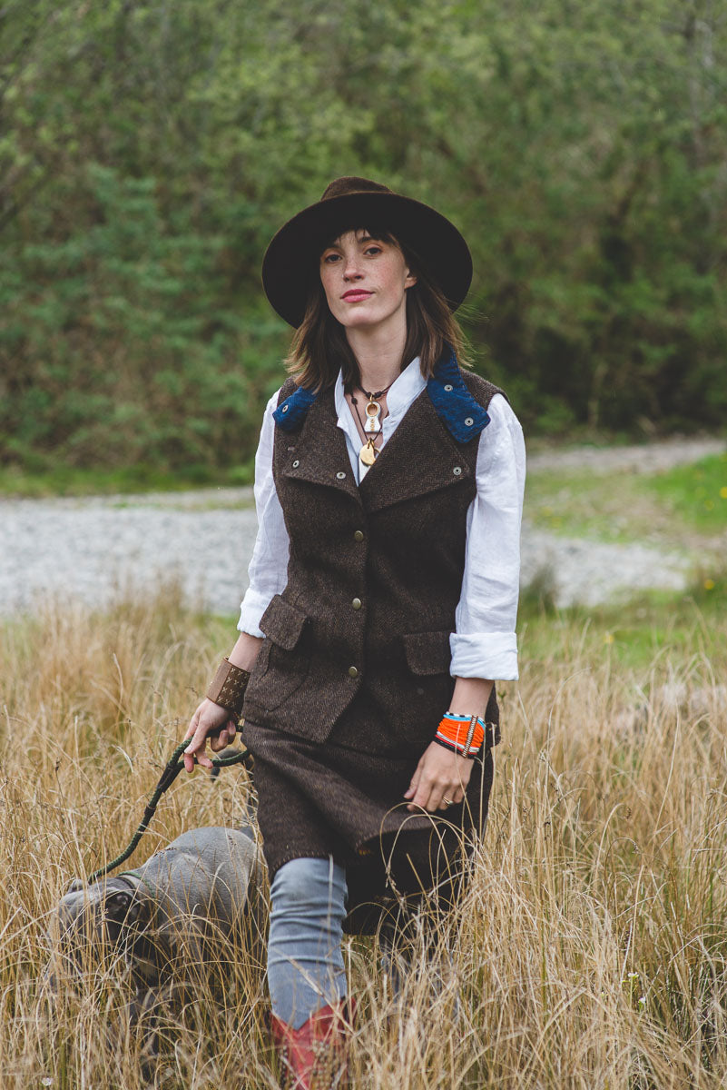 chocolate brown suede hat and brown tweed fitted women's waistcoat