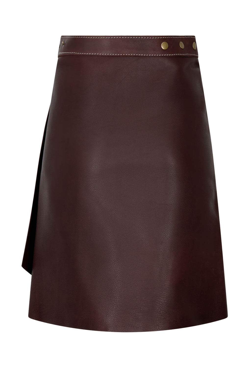 chocolate-brown-leather-wrap-skirt