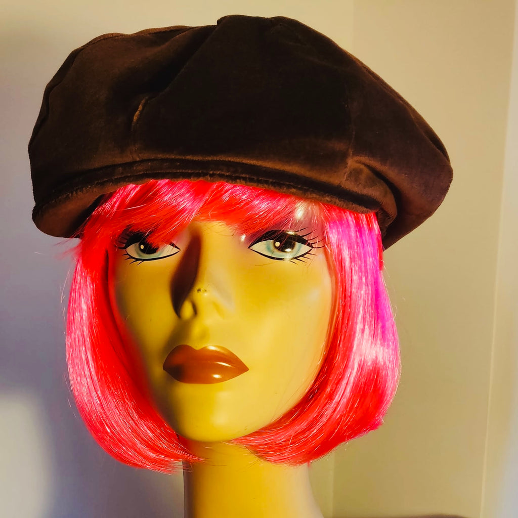 chocolate brown velvet baker boy cap