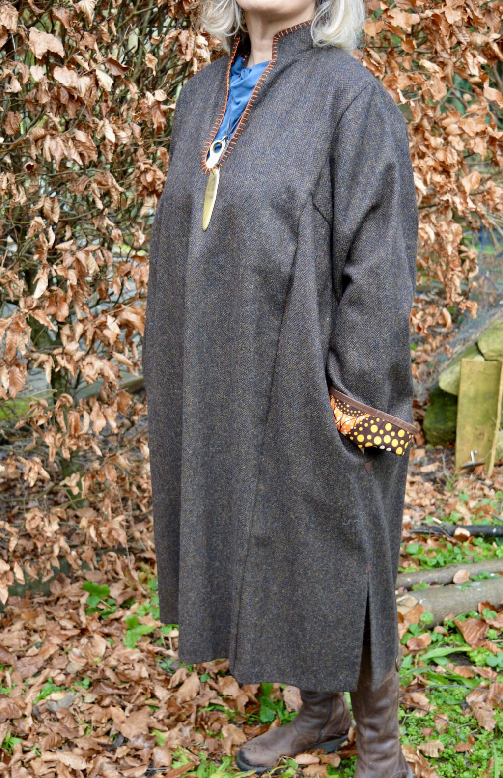 dark brown tweed robe