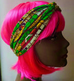 green dutch wax woven plait hairband