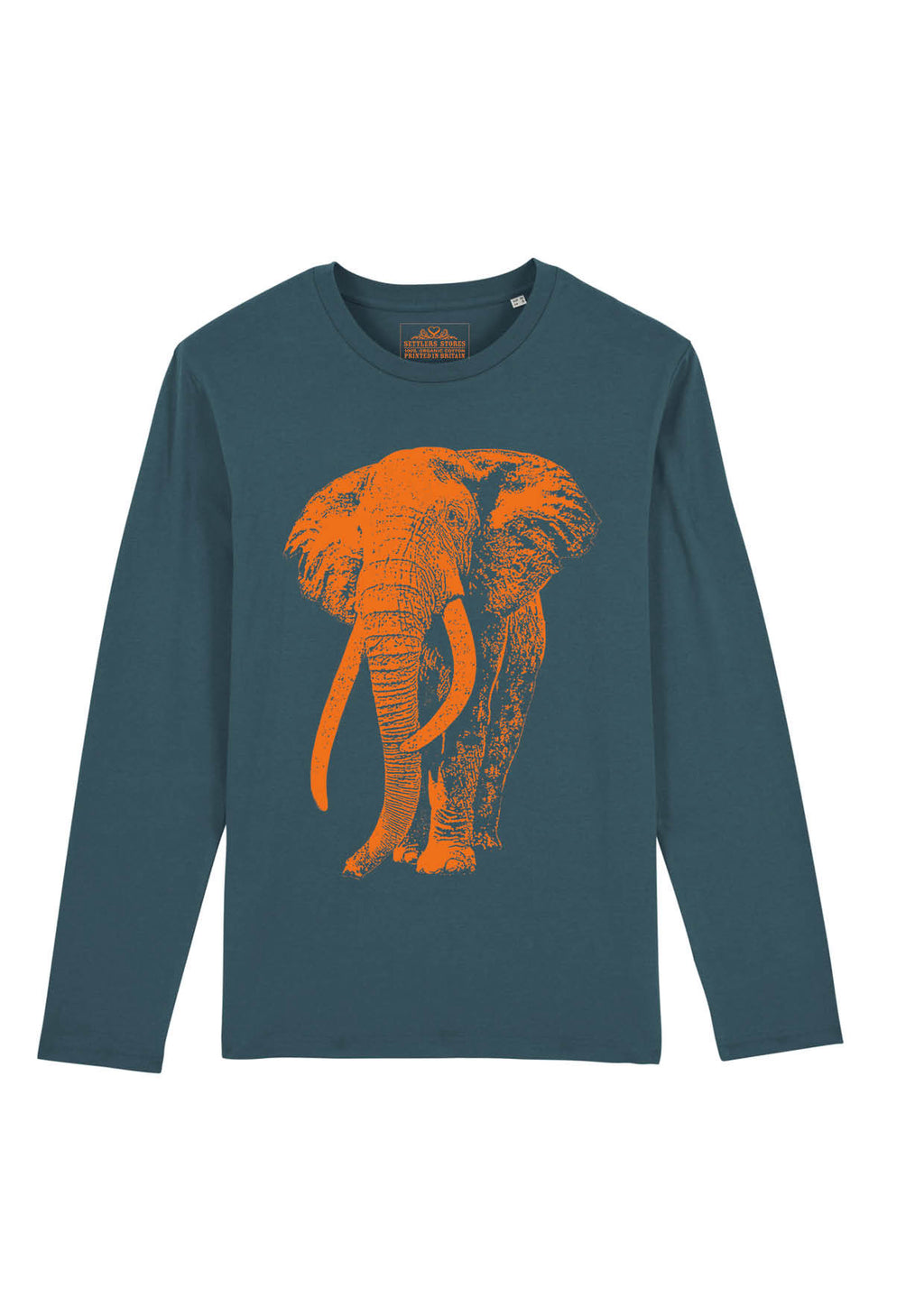 Petrol Blue Long Sleeved T-shirt with Neon Orange Tusker Elephant 100% organic cotton
