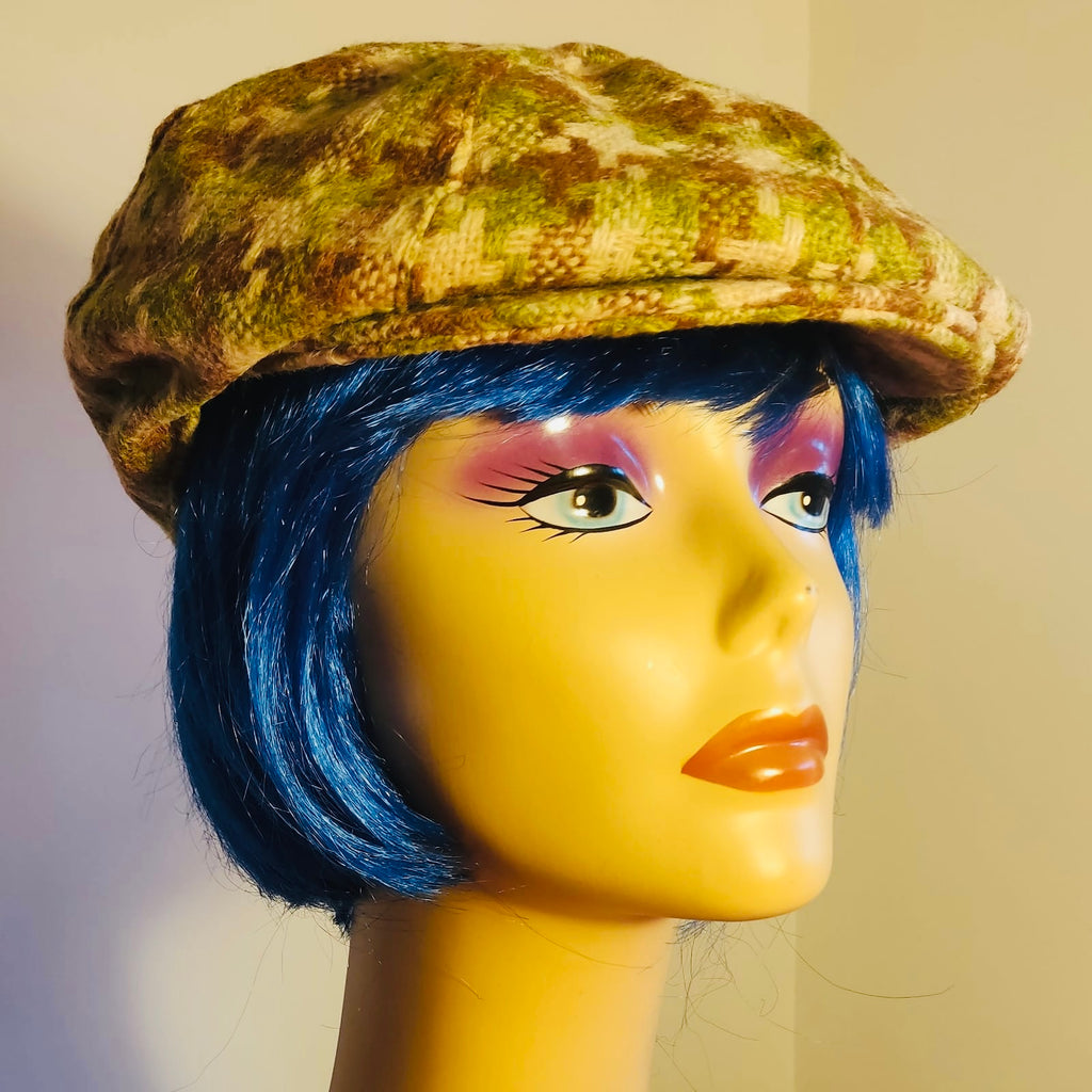 lime-green-dogtooth-check-tweed-baker-boy-cap