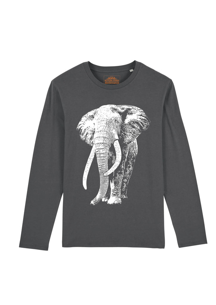 long-sleeved-grey-organic-cotton-tshirt-white-elephant-tusker-for-tusk