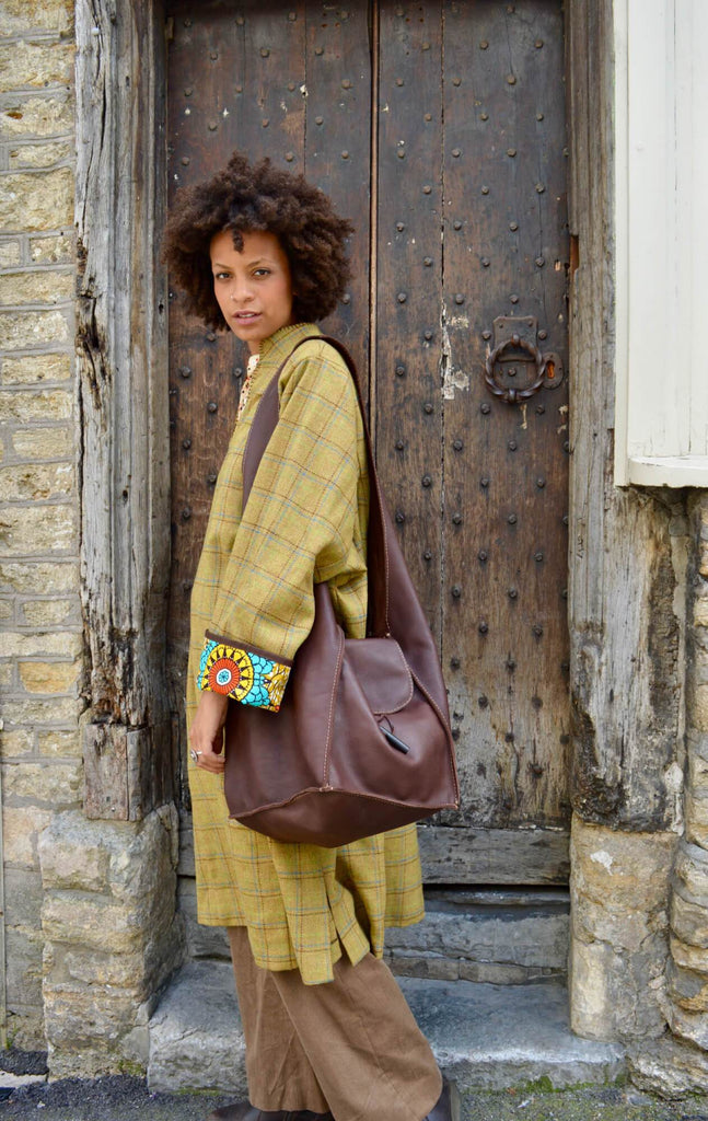 mustard-check-tweed-coat-leather-sling-bag