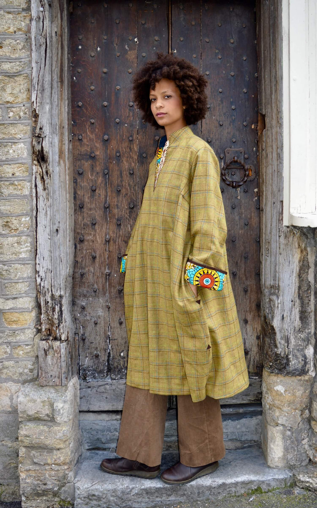 mustard-check-tweed-robe-coat