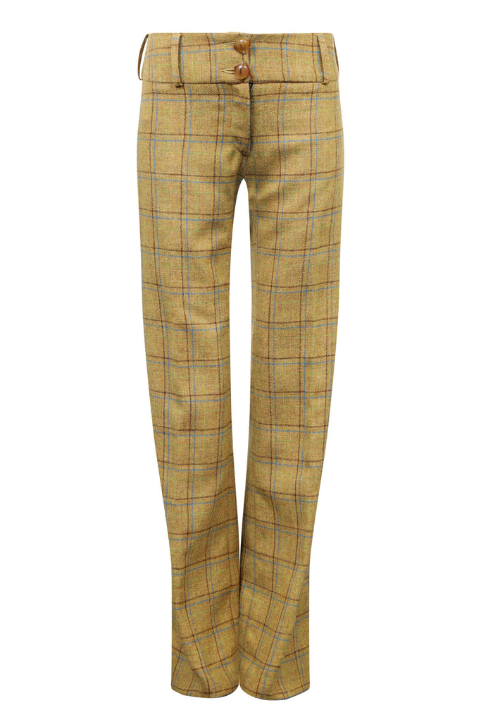 mustard-check-tweed-trousers-womens-flares