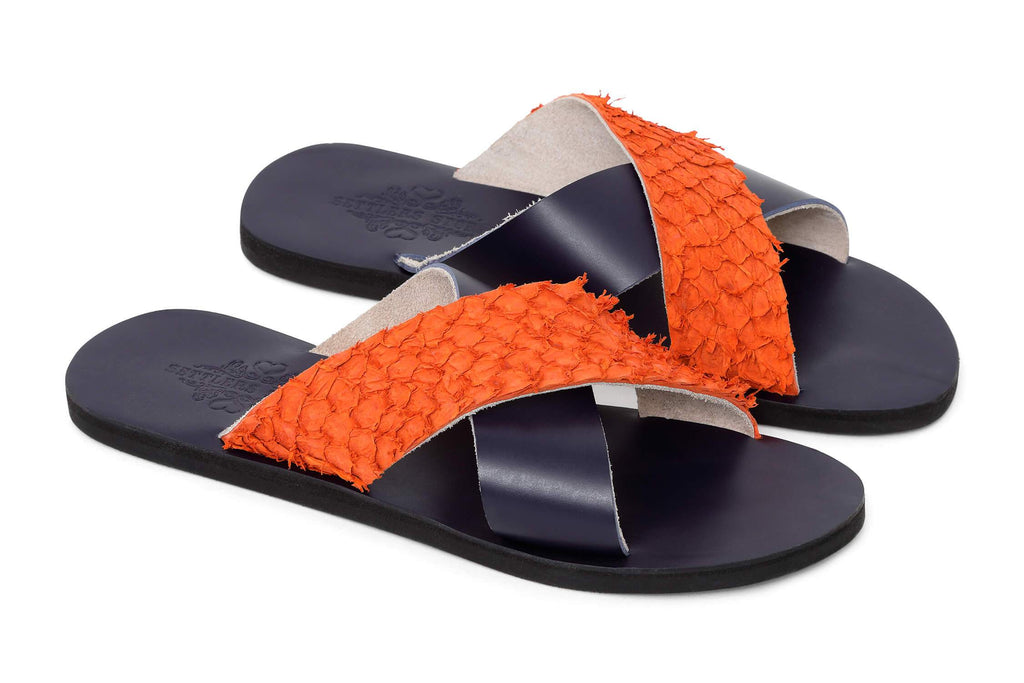 Leather Sliders - Navy/Orange