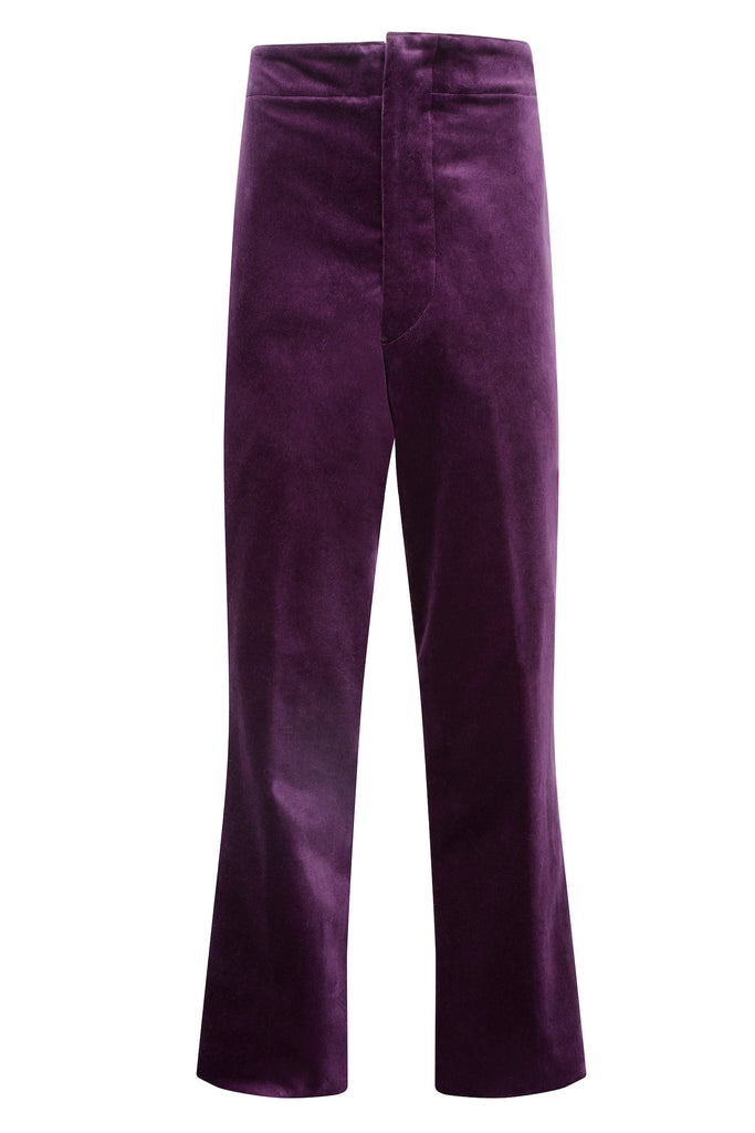 purple velvet men's tailored trousers