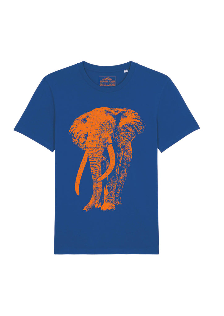 blue-organic-cotton-short-sleeved-tshirt-fluoro-orange-elephant-tusker-for-tusk
