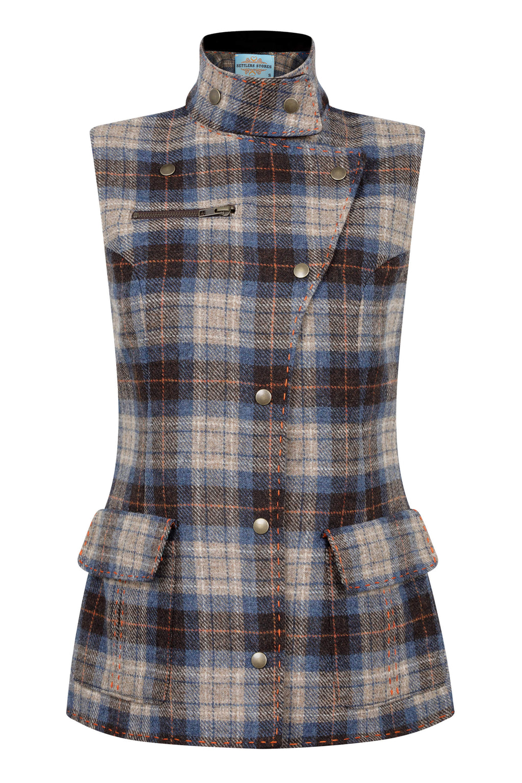 blue-check-tweed-fitted-waistcoat-womens