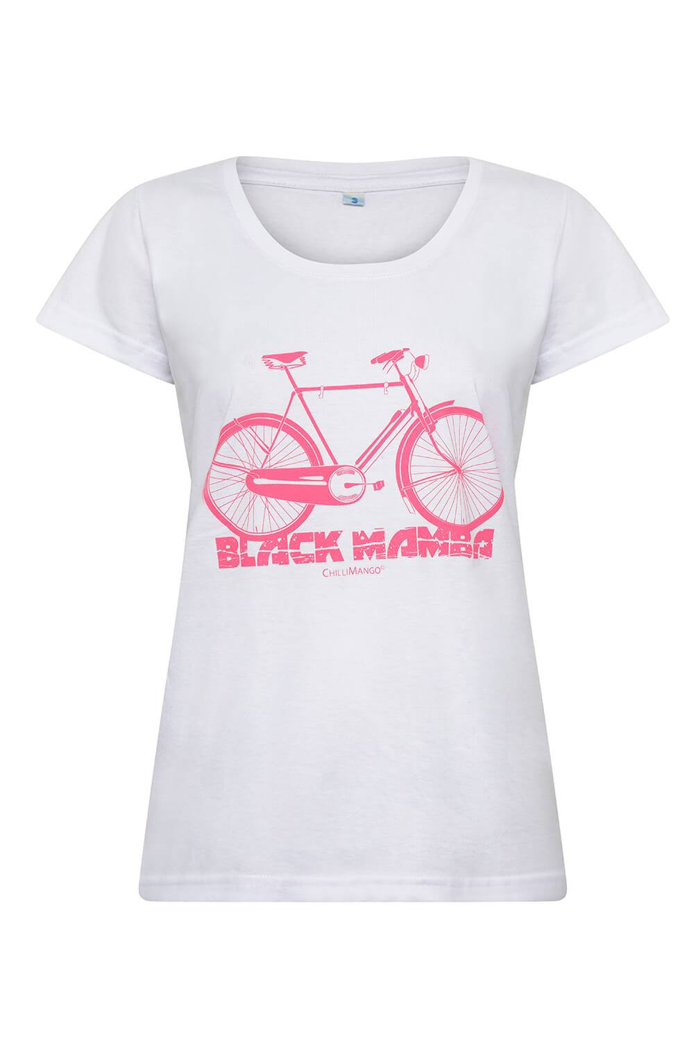 women's white cotton t-shirt with pink bicycle