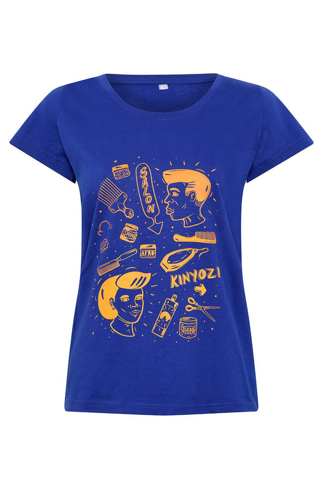 blue shortsleeved women's t-shirt with African barbers street art
