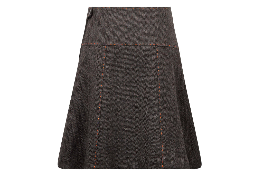 women's knee length brown tweed skirt back view