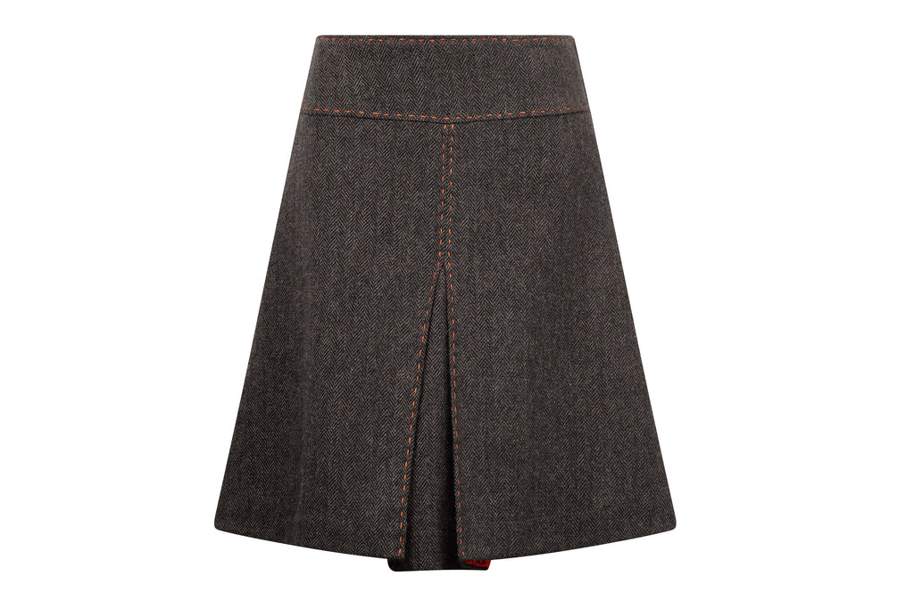 women's knee length brown tweed skirt