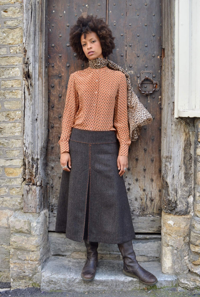long-tweed-skirt-chocolate-herringbone-front-box-pleat