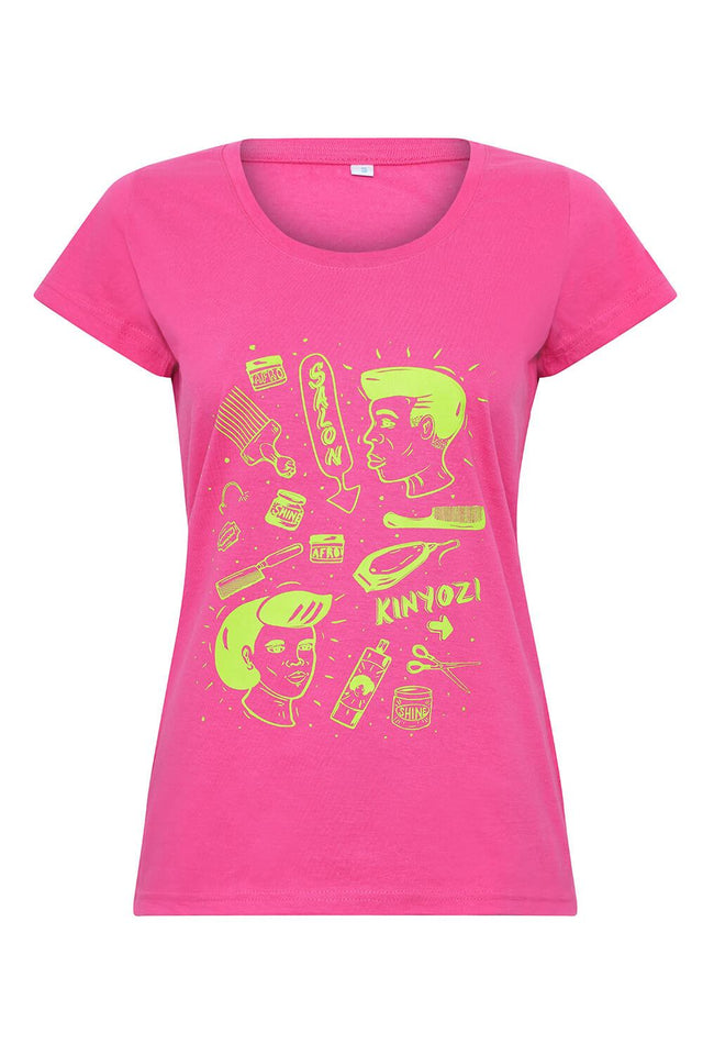 women's pink short sleeved t-shirt with African barbers designs