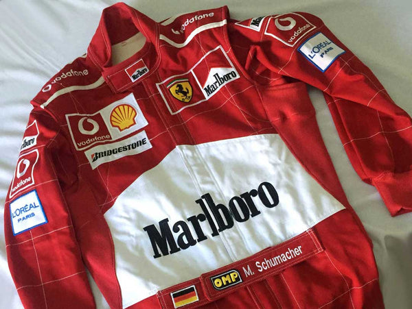 F1 Michael Schumacher 2001 Embroidered Patches Race suit,In All Sizes