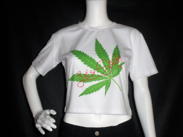 White Crop Top (Pink Lets Sesh)