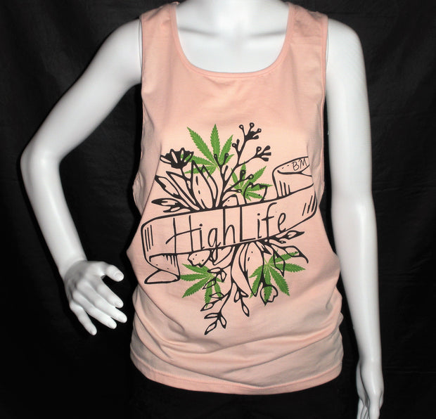 Coral Highlife Tank Top -Cutout Back