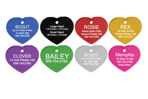 GoTags Heart Shaped Dog Tags, Personalized and Engraved, Double-Sided