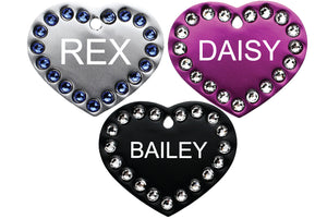 GoTags Heart Shaped Dog Tags with Swarovski Crystals, Personalized and Custom Engraved with Name and ID