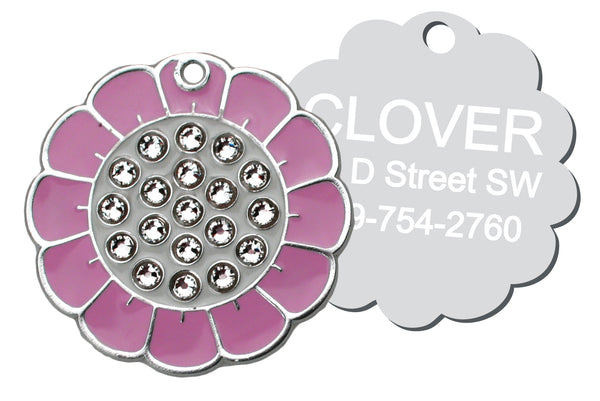 Flower Pet ID Tag with Swarovski Crystals
