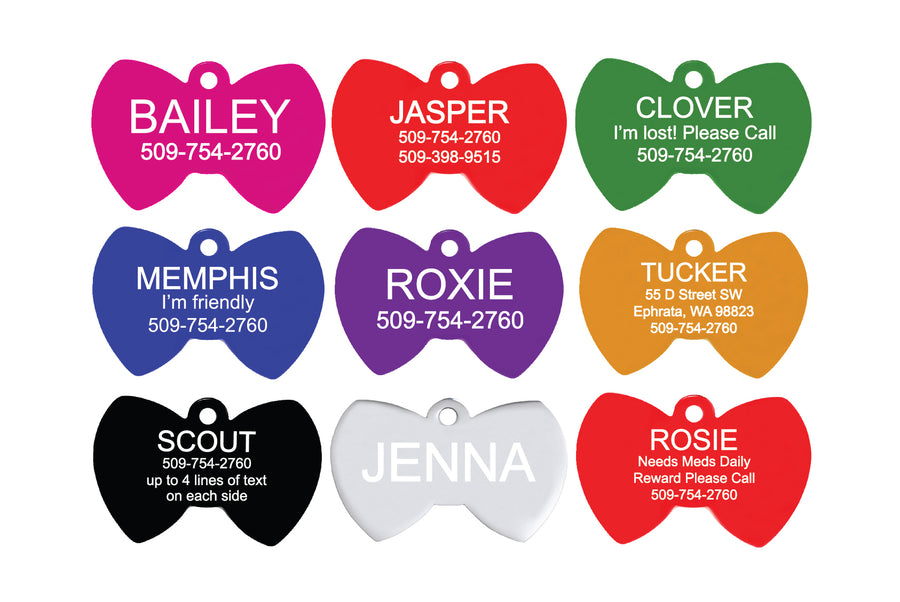 GoTags Bow Tie Shaped Pet Tags, Personalized Dog Tags and Cat Tags with Double Sided Engraving