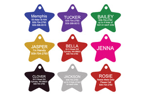 GoTags Star Shaped Dog Tags, Double Sided Engraved and Personalized