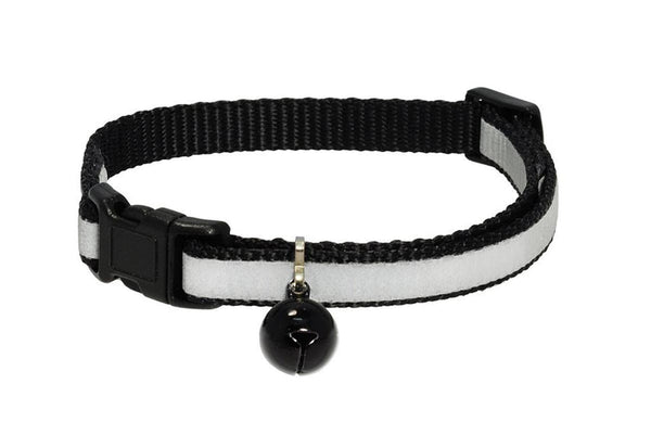 GoTags Reflective Cat Collars, Black Breakaway Cat Collar with Bell