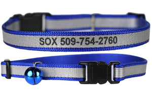 GoTags Engraved Blue Reflective Personalized Cat Collars