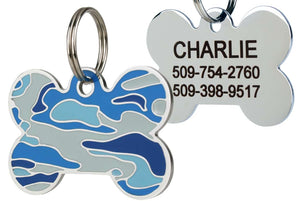 GoTags Blue Camo Dog Tag for Dogs, Camouflage Pet Tags made of Stainless Steel, Engraved