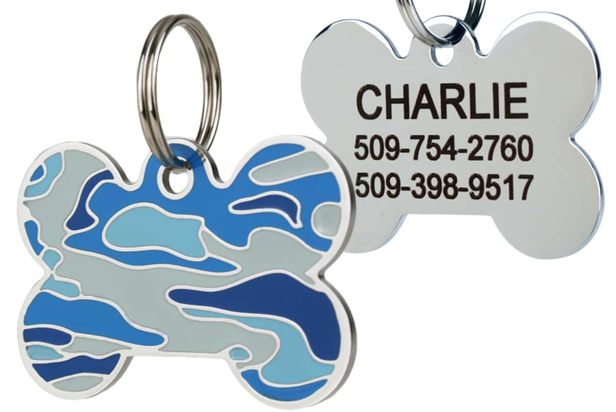 GoTags Blue Camo Dog Tag for Dogs Stainless Steel Pet Tag