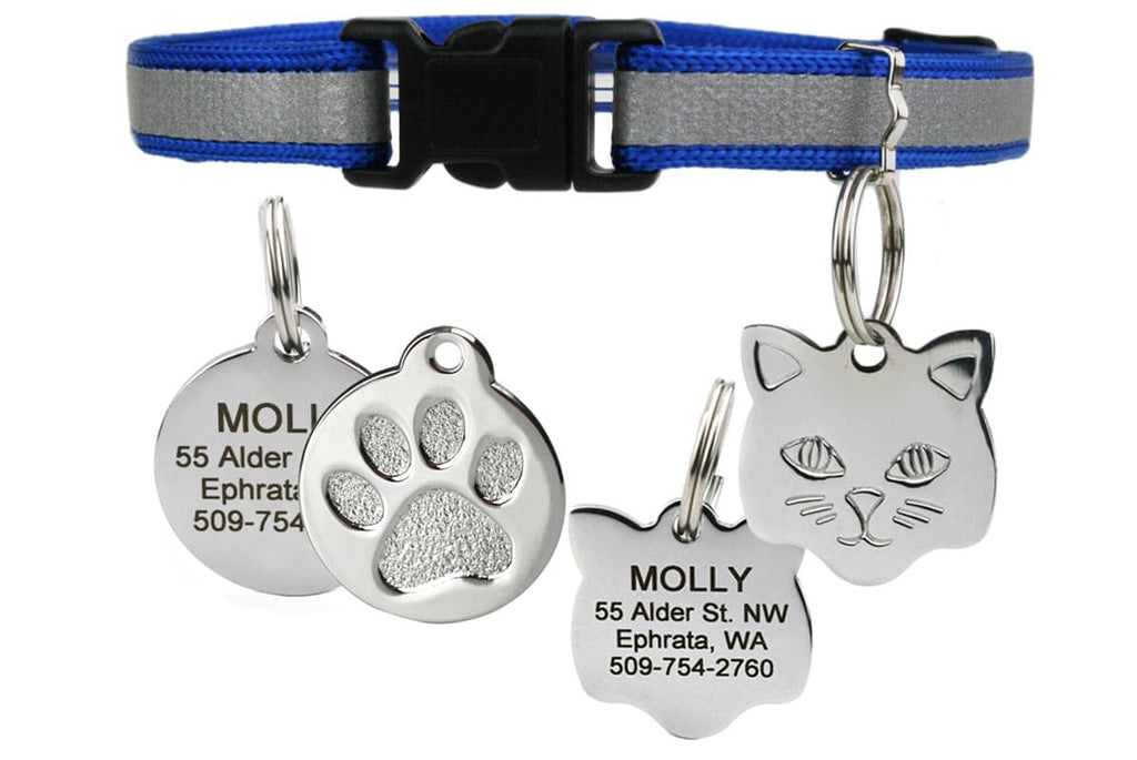 GoTags Reflective Blue Breakaway Cat Collar with Tag Personalized Engraved