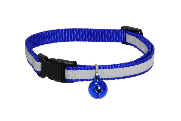 GoTags Reflective Blue Breakaway Cat Collars with Bell