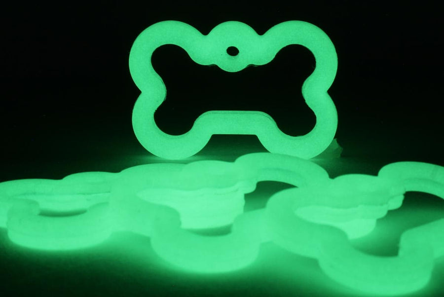 GoTags Bone Shape Dog Tag Silencer Glow in the Dark